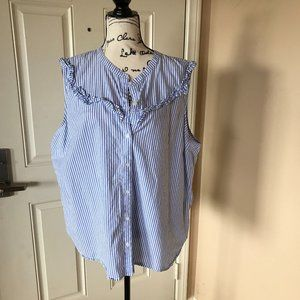 Old Navy Button Front Striped Sleeveless Shirt
